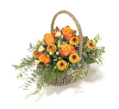 Funeral BasketOrange, Bronze & Gold