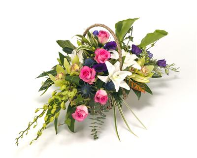 Funeral basket Large  Pink ,Purple,Blue & White